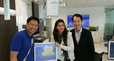 Dr Chong Isaac attending the training at Sirona Dentsply on the new development on Digital Scanning of Teeth and same day Crown