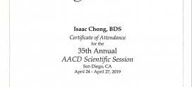 Dr Isaac Chong has just attended the 35th Annual Meeting of the American Academy of Cosmetic Dentistry in San Diego, California